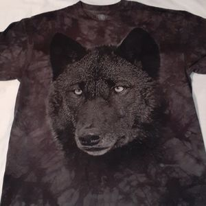 The Mountain Wolf on Black Tie Dyed T-Shirt Large
